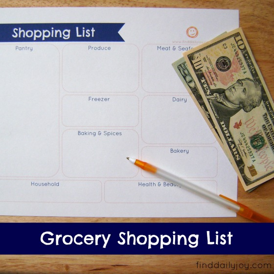 Grocery Shopping List {Free Printable} - finddailyjoy.com