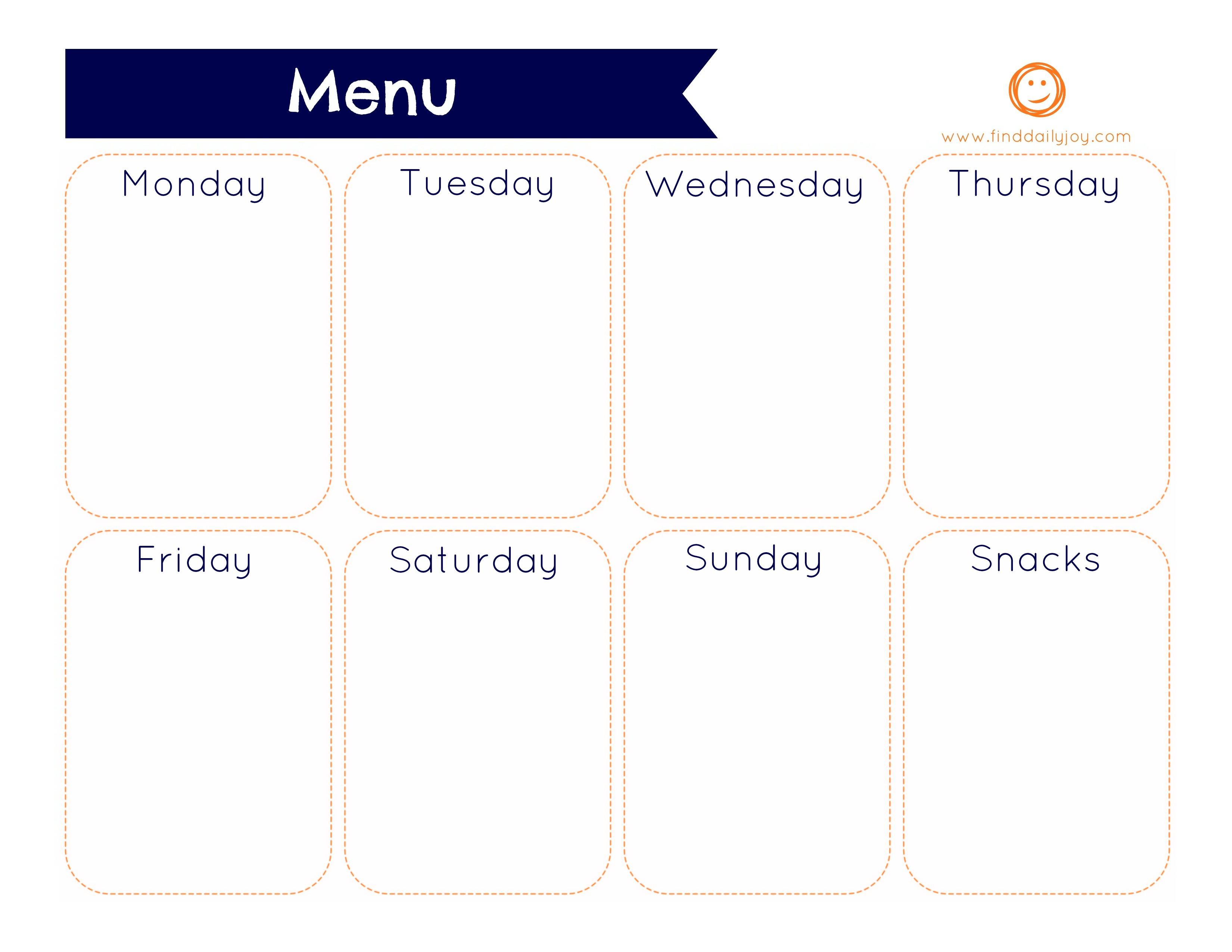 Weekly Menu Planner {Free Printable} | Find Daily Joy