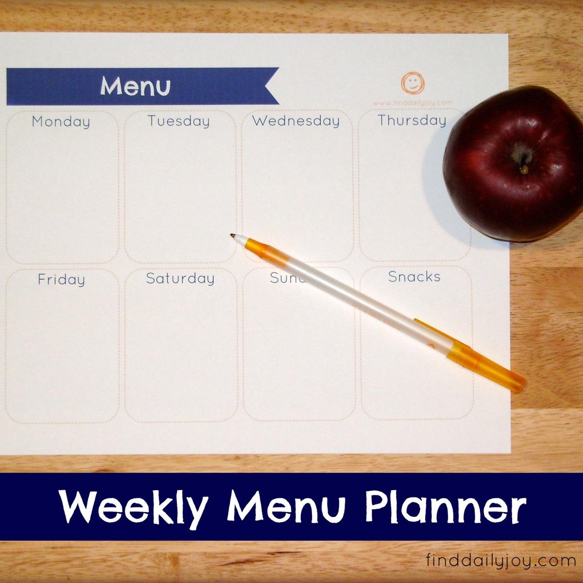 Weekly Menu Planner {Free Printable}