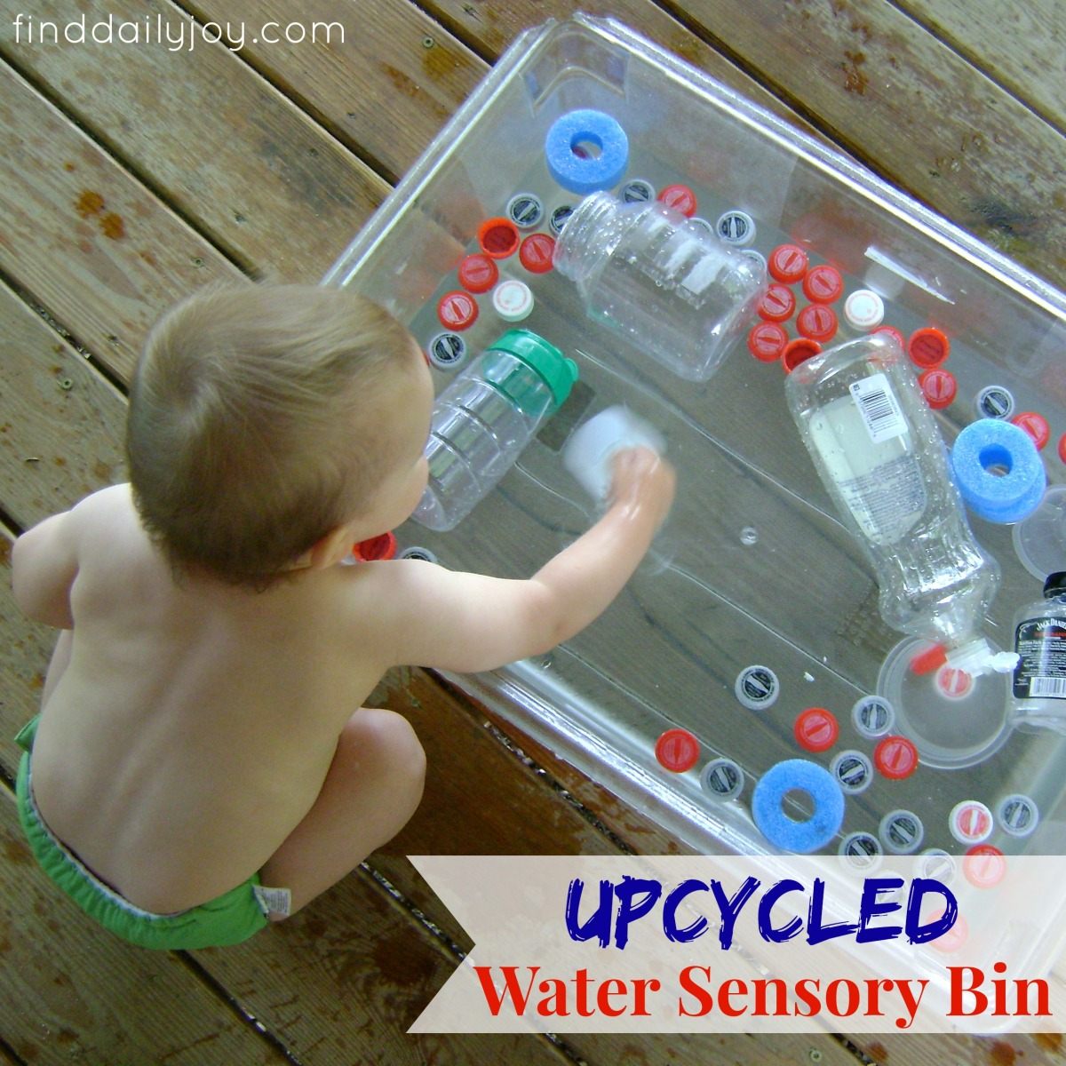 Upcycled Water Sensory Bin {Playing With Toddler}